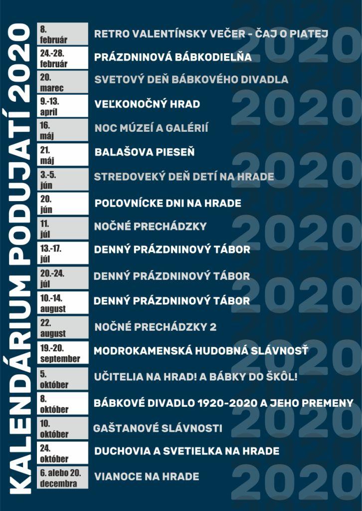 Predbežné kalendárium podujatí na rok 2020